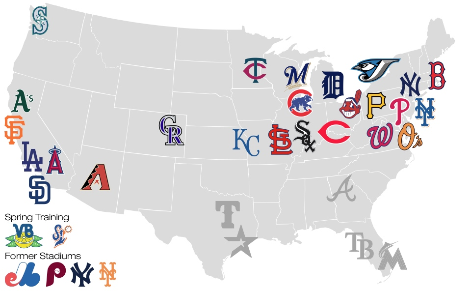 Map of all 30 Major League Ballparks