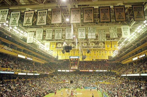 Photo of the banners that hung atop Boston Garden.