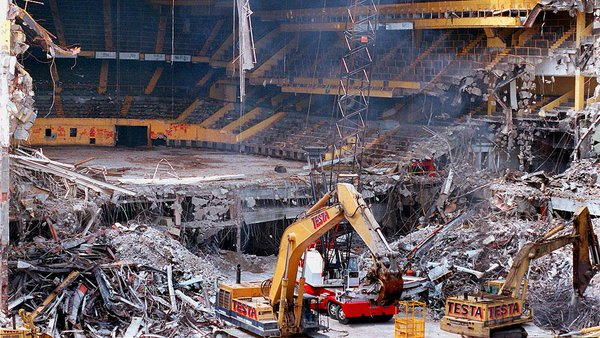 Photo of the demolition of Boston Garden in 1997-1998.