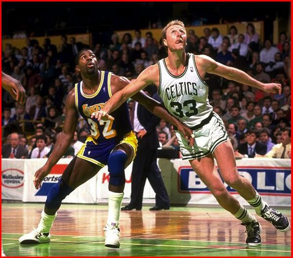 Photo of Larry Byrd of the Boston Celtics vs. Magic Johnson of the Los Angeles Lakers.
