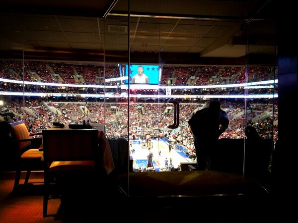 Inside the Cadillac Grille at the Wells Fargo Center during a Philadelphia 76ers Home Game