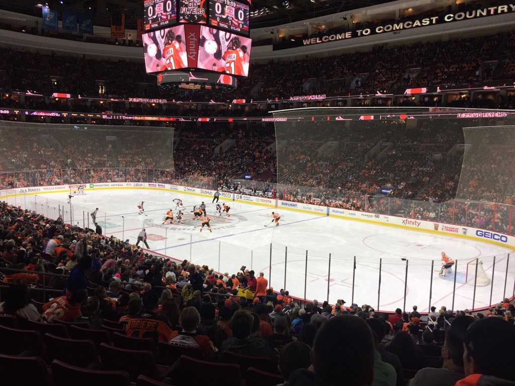 Lower Level Seats at the Wells Fargo Center during a Philadelphia Flyers Game