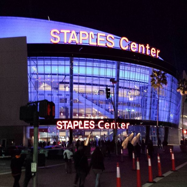 Exterior photo of the Staples Center, Home of the Los Angeles Lakers