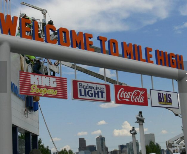 Welcome To Mile High Sign at Sports Authority Field in Denver, Colorado.