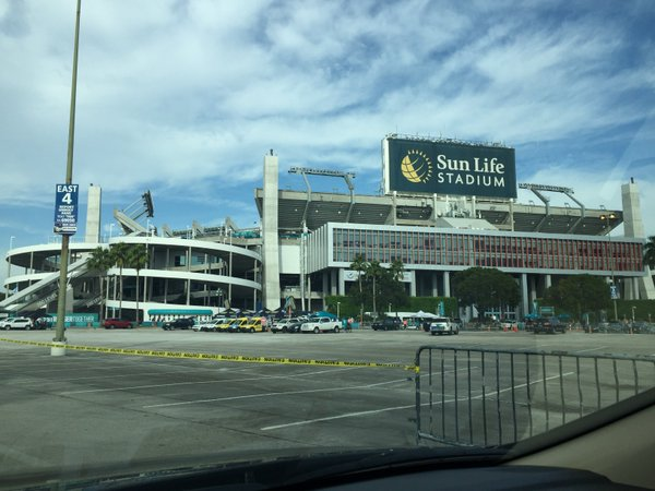 Exterior photo of Hard Rock Stadium, home of the Miami Dolphins.