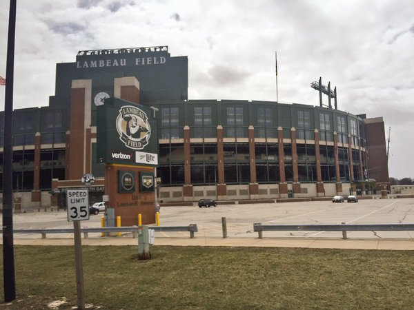 Exterior photo of Lambeau Field, home of the Green Bay Packers.