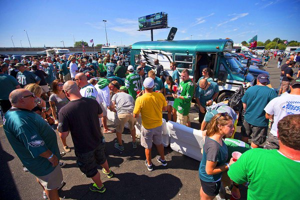 Photo of Philadelphia Eagles fans tailgating.