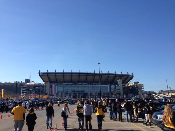 Exterior photo of Heinz Field, home of the Pittsburgh Steelers.