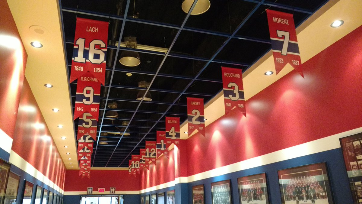 Photo of the Montreal Canadiens player banners inside the Montreal Forum today.