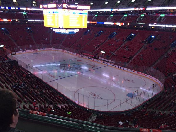 Photo of the Bell Centre ice from the middle level.