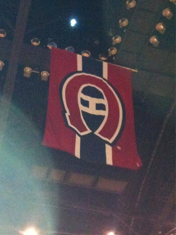 Photo of the Montreal Canadiens flag that hung from the Montreal Forum ceiling.