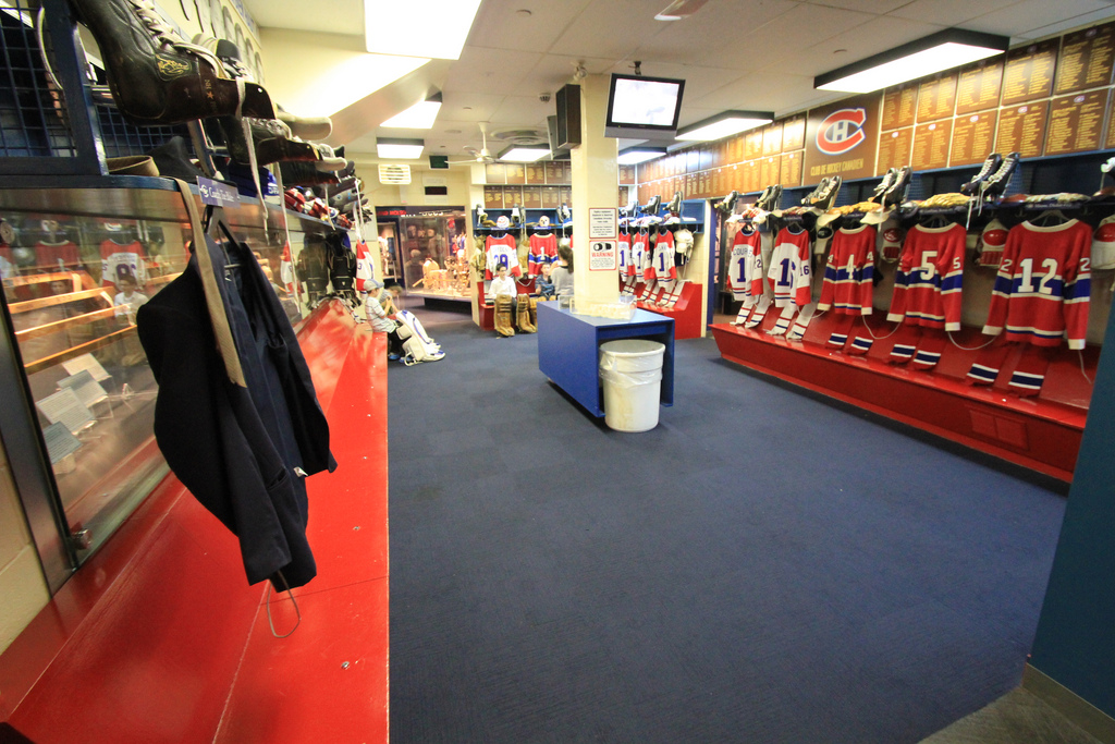 Photo of the old Montreal Forum locker room.