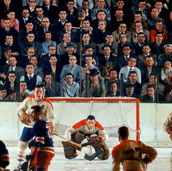 Photo of the Montreal Canadiens hosting the New York Rangers during the 1960's.