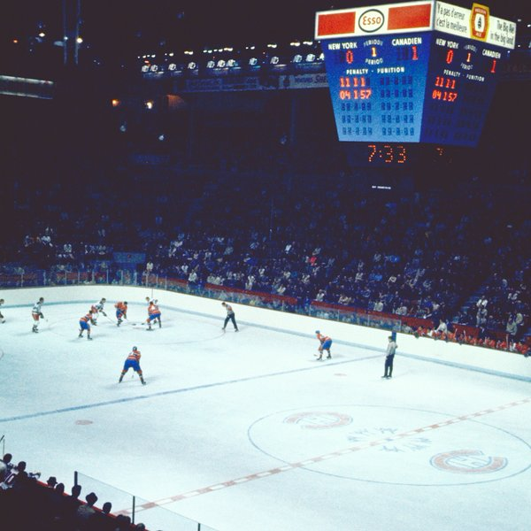 Photo of a Montreal Canadiens vs. New York Rangers game during the 1970's.
