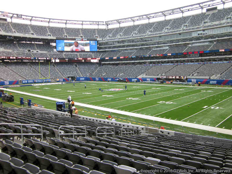 Seat view from section 109 at Metlife Stadium, home of the New York Jets