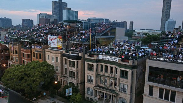 Photo of the Wrigleyville rooftops adjacent to Wrigley Field.