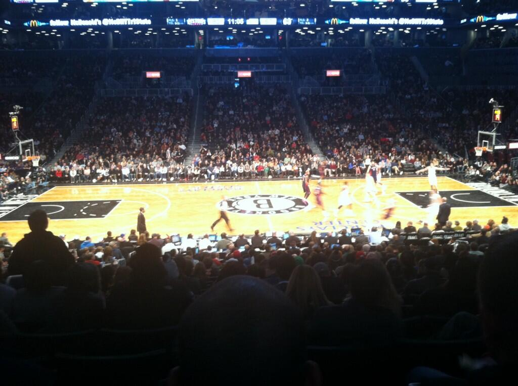 View from Section 8 at Barclays Center, home of the Brooklyn Nets