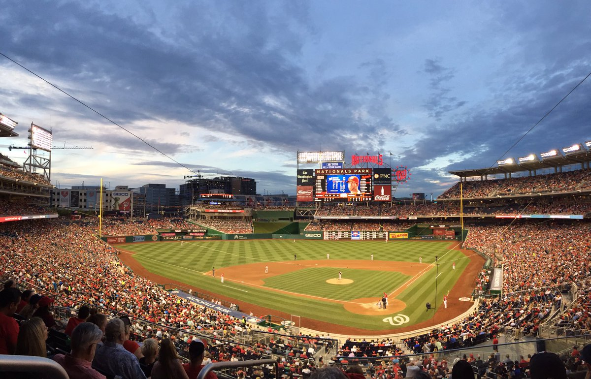 Photo of the field at Nationals Park, home of the Washington Nationals.