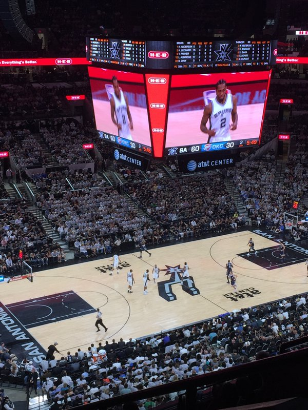 Photo of the court at AT&T Center, home of the San Antonio Spurs.
