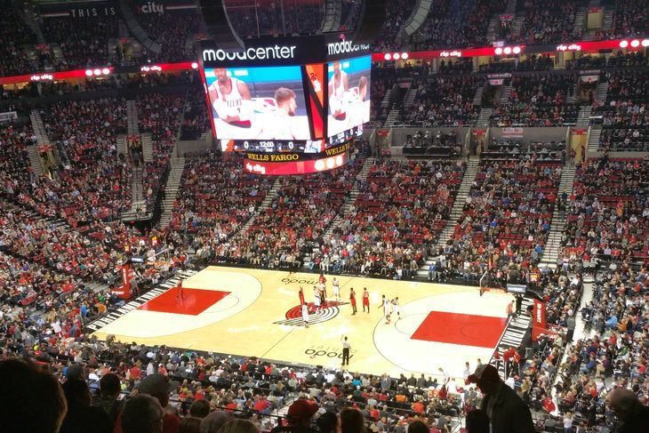 Photo of the court at the Moda Center, home of the Portland Trail Blazers.