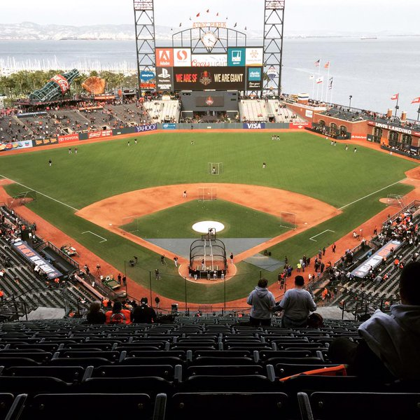 Photo of the field at AT&T Park, home of the San Francisco Giants.