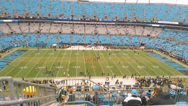 Photo of the field at Bank of America Stadium, home of the Carolina Panthers.