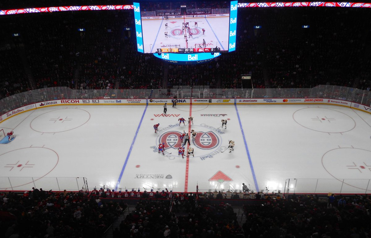 Photo of the ice at the Bell Centre, home of the Montreal Canadiens.