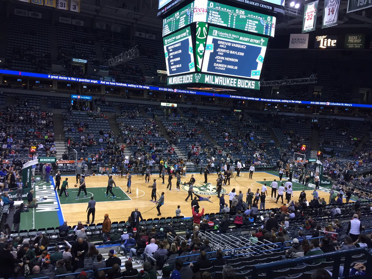 Photo of the court at the BMO Harris Bradley Center, Home of the Milwaukee Bucks