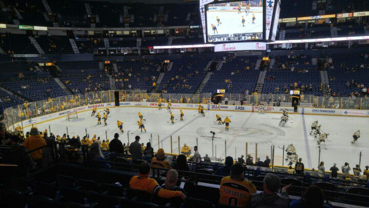 Photo of the ice at Bridgestone Arena, home of the Nashville Predators.