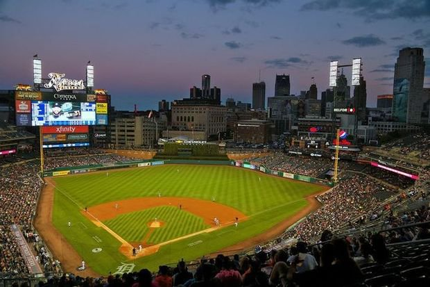 Photo of the field at Comerica Park, home of the Detroit Tigers.