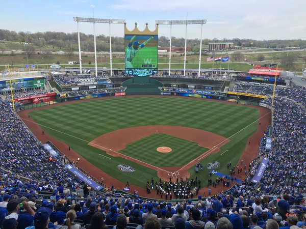 Photo of the field at Kauffman Stadium, home of the Kansas City Royals.