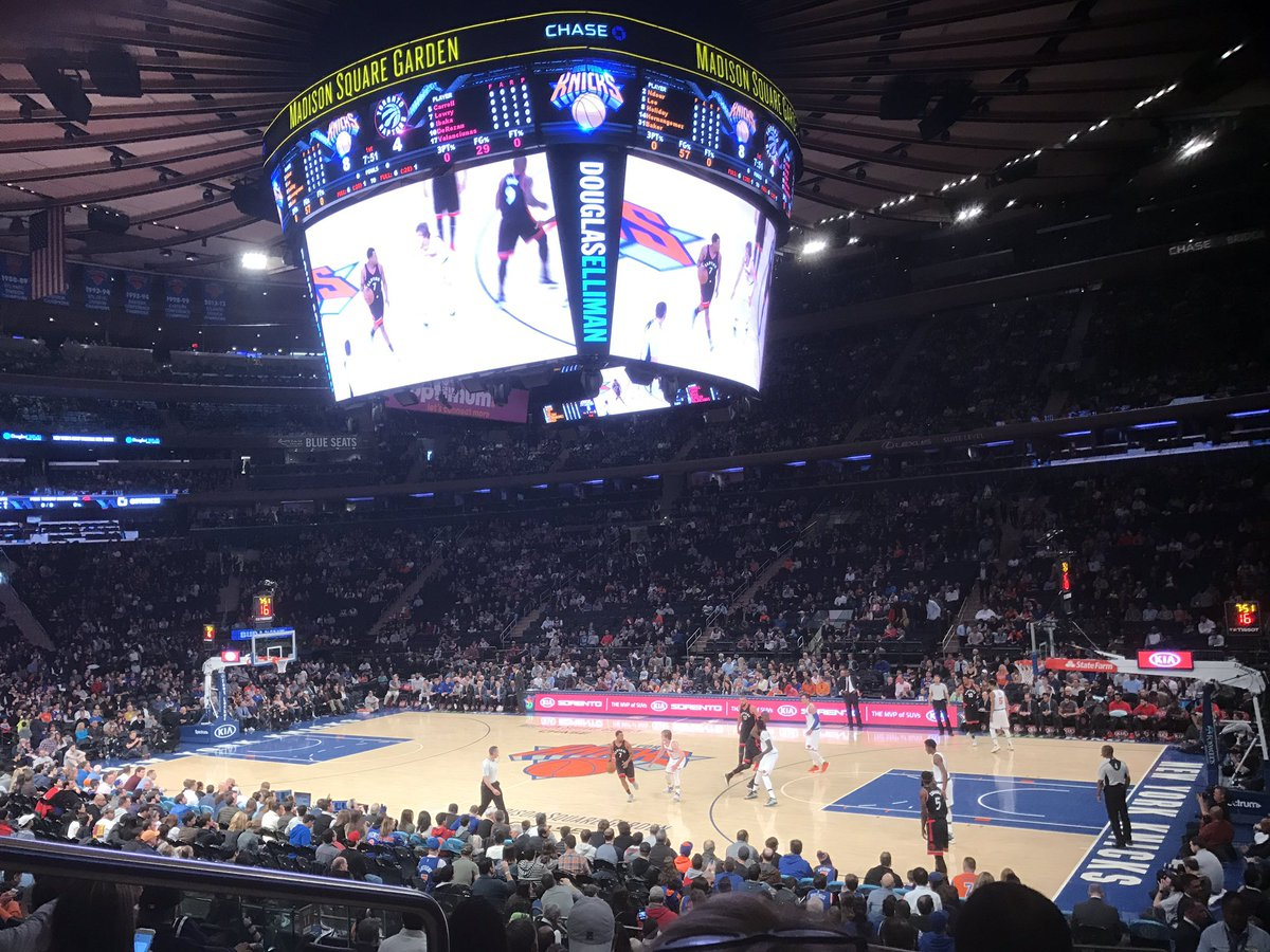 Photo of the court at Madison Square Garden, home of the New York Knicks.
