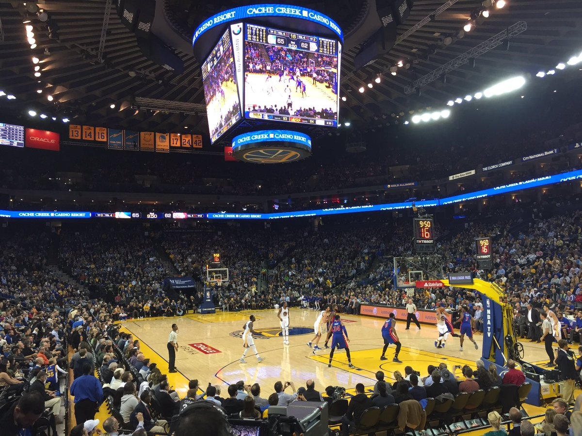 Photo of the court at Oracle Arena, home of the Golden State Warriors.