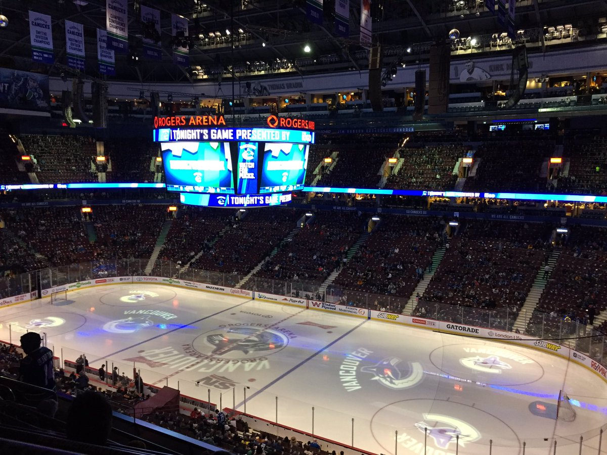 Photo of the ice at Rogers Arena, home of the Vancouver Canucks.