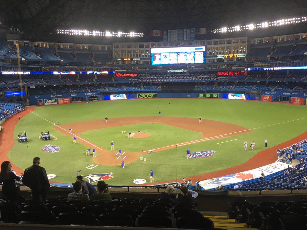 Photo of the field at the Rogers Centre, home of the Toronto Blue Jays.