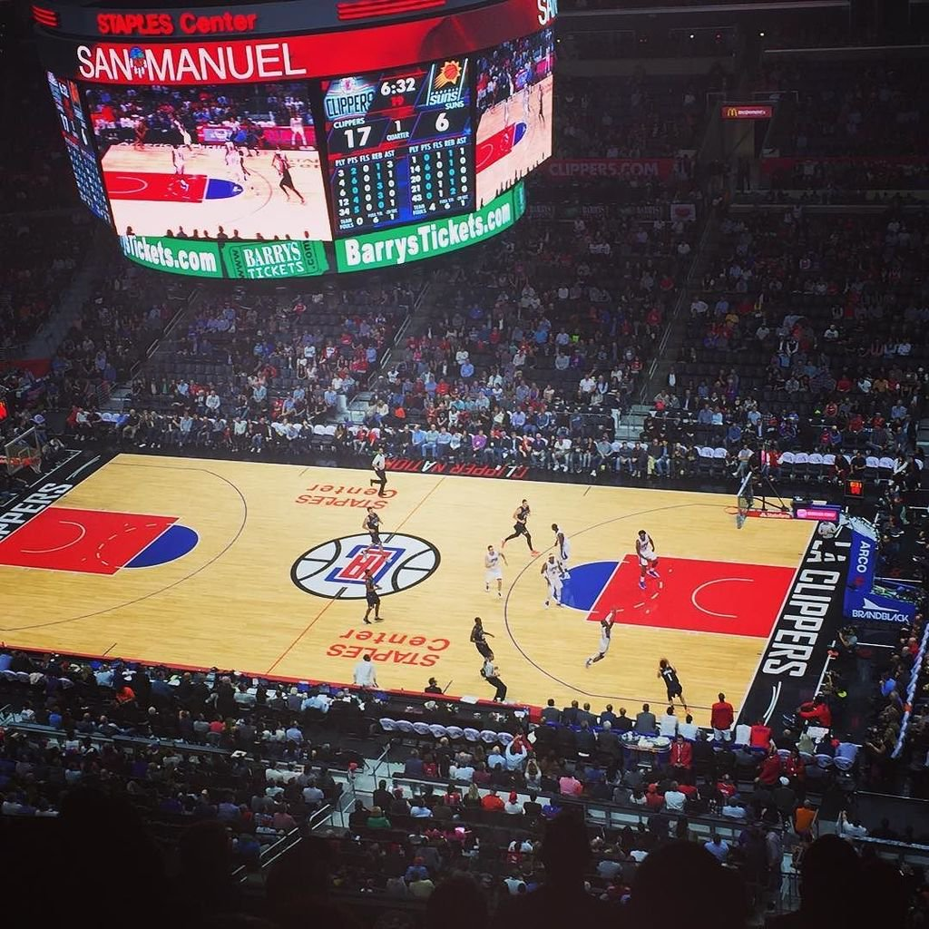 Photo of the court at the Staples Center, home of the Los Angeles Clippers.