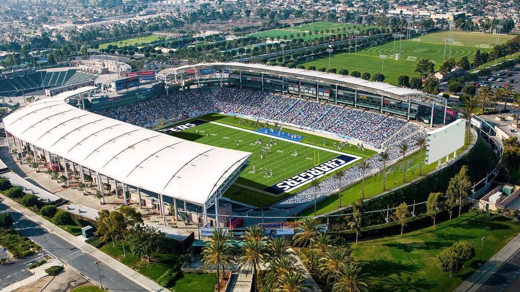 Aerial photo of the Stubhub Center, Home of the Los Angeles Chargers.