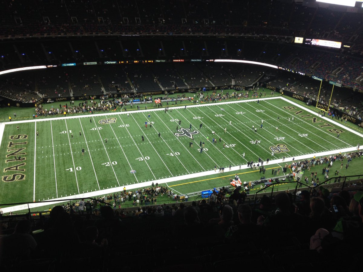 Photo of the field at Mercedes-Benz Superdome, home of the New Orleans Saints.