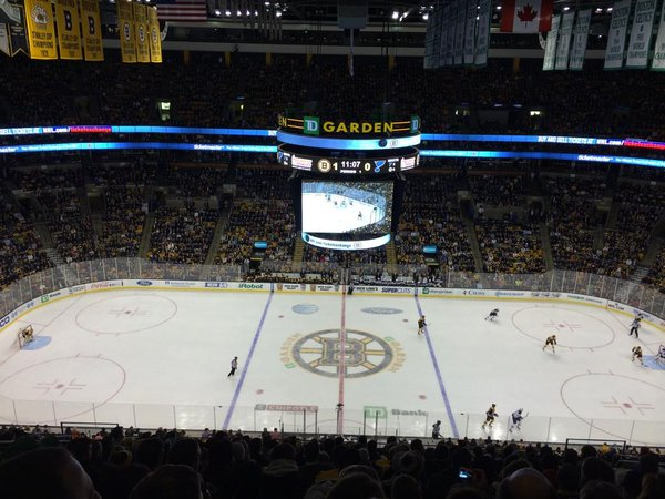 Photo of the ice at the TD Garden, home of the Boston Bruins.
