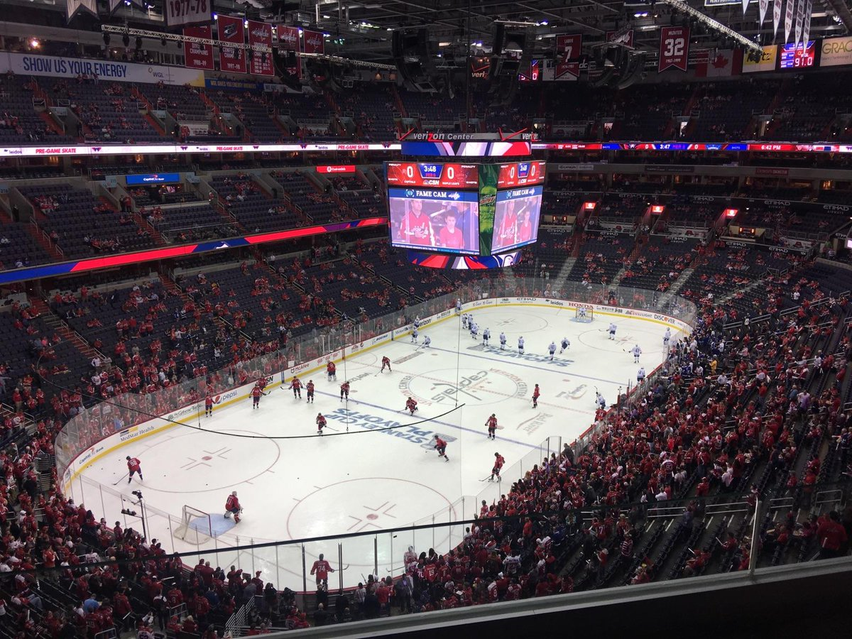 Photo of the ice at Capital One Arena, home of the Washington Capitals.