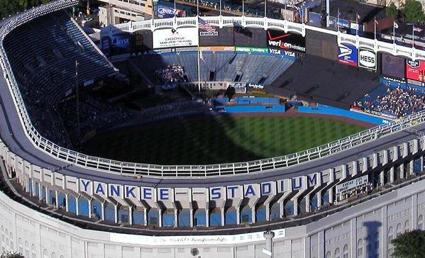 An aerial view of old Yankee Stadium in Bronx, New York.