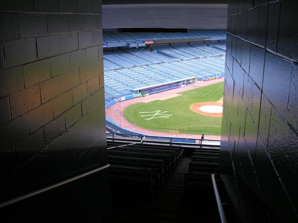Photo of the home plate at Yankee Stadium from the concourse.
