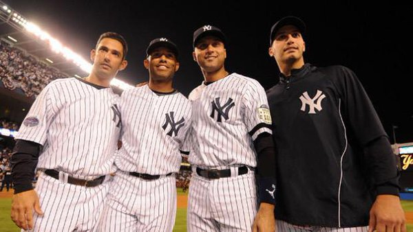 "Photo of ""The Core Four"" before the final home game at old Yankee Stadium on September 21st, 2008."