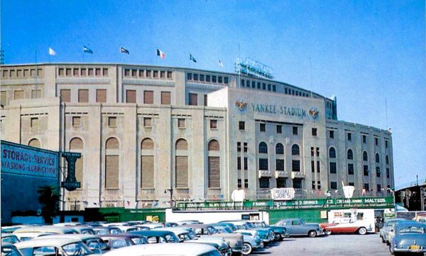 An exterior view of old Yankee Stadium from the parking lot.
