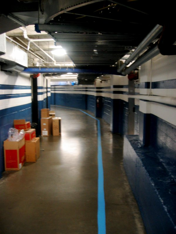 Photo of the hallway leading to the player's locker room area at old Yankee Stadium.