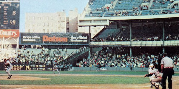 Photo of a New York Yankees game at old Yankee Stadium. Year unkown.
