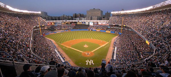A panoramic view of old Yankee Stadium from the upper level.