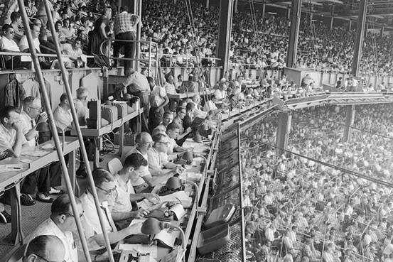Photo of the old Yankee Stadium press box area circa the 1940's.