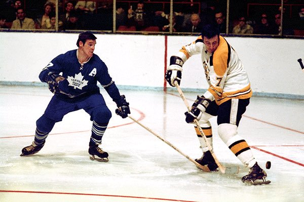 Old school photo of the Toronto Maple Leafs vs. the Boston Bruins.