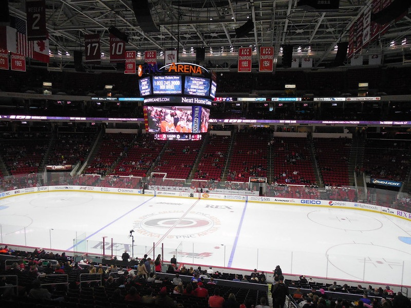 View from the lower level seats at PNC Arena during a Carolina Hurricanes game.